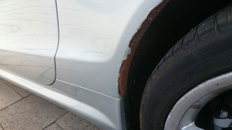 Before Wheel Arch Rust Repair Fulham